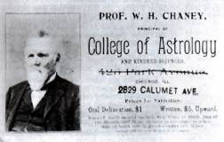 William Chaney astrology Business card with portrait.